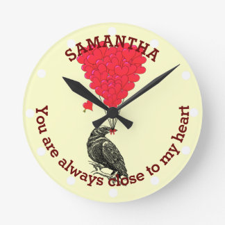 Romantic gothic crow and red heart personalized round clock