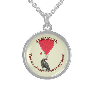 Romantic gothic crow and red heart personalized sterling silver necklace