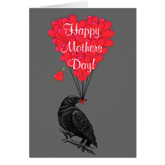 Romantic gothic crow mothers day card