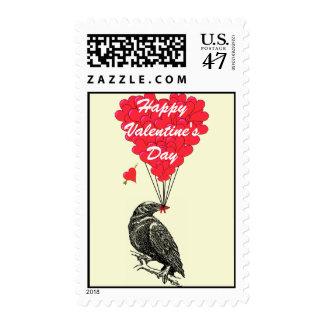 Romantic gothic crow  Valentine's Stamp