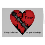 Romantic gothic medieval heart wedding congrats card