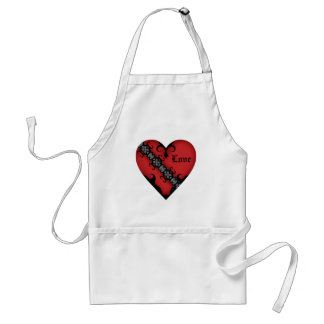Romantic gothic medieval red heart adult apron