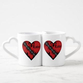 Romantic gothic medieval red heart coffee mug set