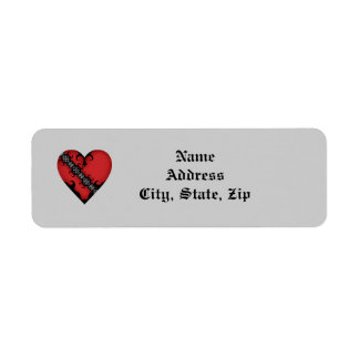 Romantic gothic medieval red heart label