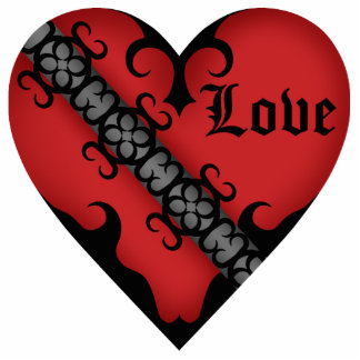 Romantic gothic medieval red heart magnet. statuette