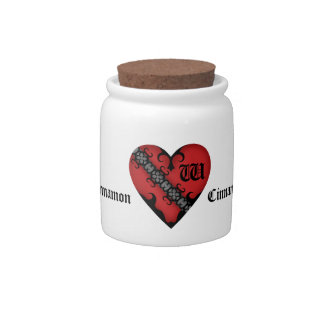 Romantic gothic medieval red heart monogram candy jars