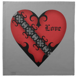 Romantic gothic medieval red heart napkin