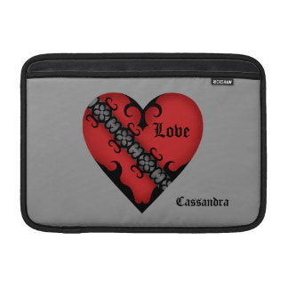 Romantic gothic medieval red heart personalized MacBook sleeve