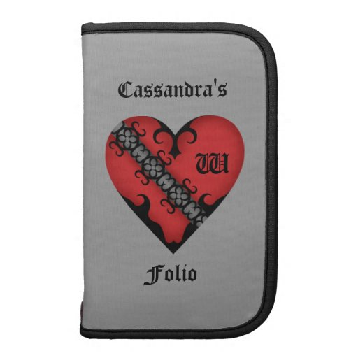 Romantic gothic medieval red heart personalized folio planner