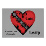 """Romantic gothic medieval red heart RSVP 3.5"""" X 5"""" Invitation Card"""