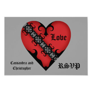 Romantic gothic medieval red heart RSVP Announcement
