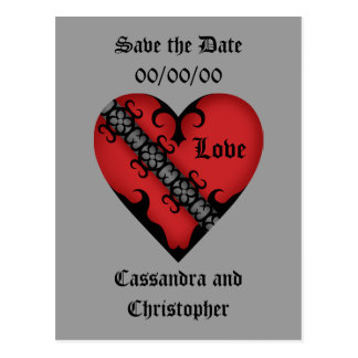 Romantic gothic medieval red heart save the date postcard