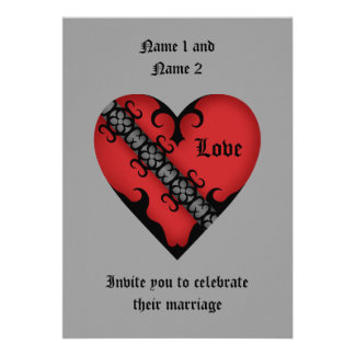 Romantic gothic medieval red heart wedding invite