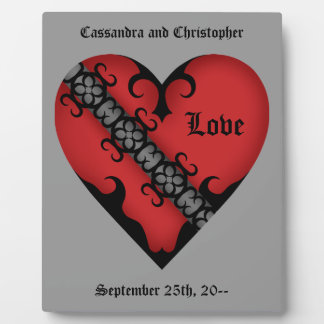 Romantic gothic medieval red love heart plaque