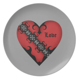 Romantic gothic medieval red love heart plate