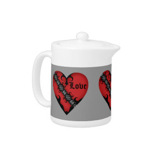 Romantic gothic medieval red love hearts