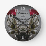 Romantic gothic skelton hands holding red roses round clock