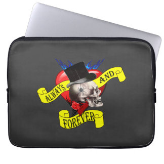 Romantic Gothic skull and love heart Laptop Computer Sleeves