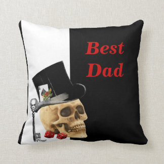Romantic Gothic skull  gambler fathers day Throw Pillow