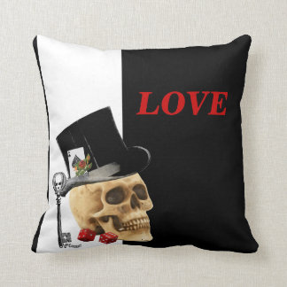 Romantic Gothic skull  gambler valentines day Throw Pillow