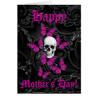 Romantic gothic skull mothers day card
