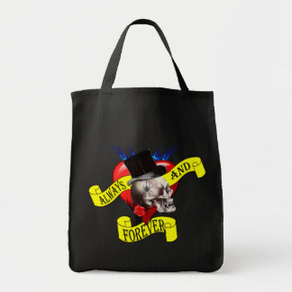 Romantic gothic skull, Valentines love heart Tote Bag