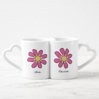 Romantic Graphical Flower she+she any Names Coffee Mug Set