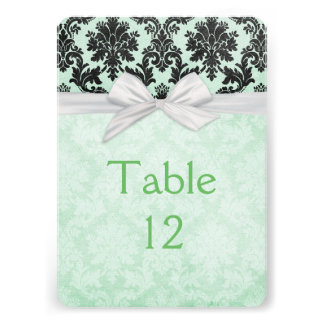 Romantic Green Blush Damask Table card