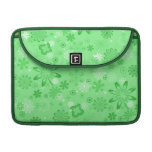 Romantic Green Floral Pattern Sleeves For MacBook Pro