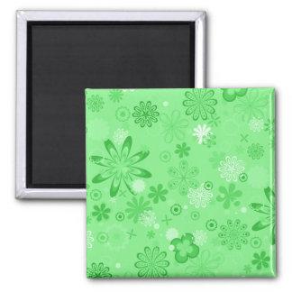 Romantic Green Floral Pattern Refrigerator Magnet