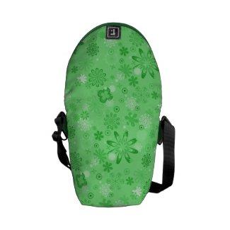 Romantic Green Floral Pattern Messenger Bag