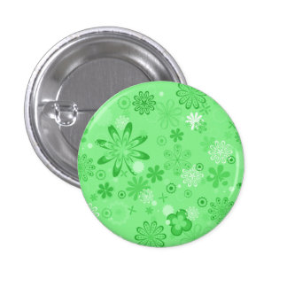 Romantic Green Floral Pattern Pinback Button