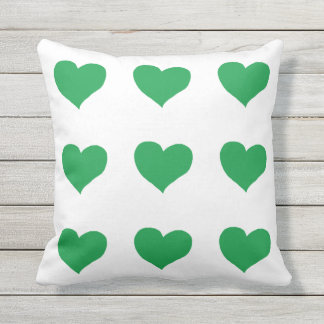 romantic green hearts white outdoor pillow