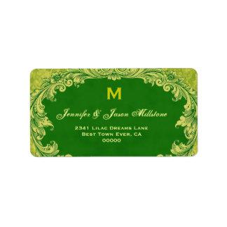 Romantic Green Vintage Monogram Label