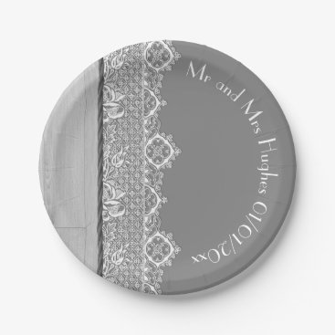 Wedding Themed Romantic grey White lace and grey wedding Paper Plate