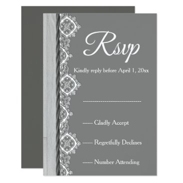 Wedding Themed Romantic grey White lace and grey wedding RSVP Card