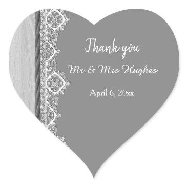Wedding Themed Romantic grey White lace grey wedding thank you Heart Sticker