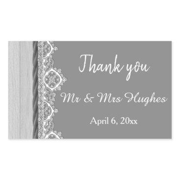 Wedding Themed Romantic grey White lace grey wedding thank you Rectangular Sticker