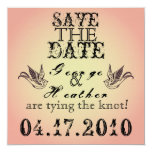 Romantic Grunge  Save the Date... 5.25x5.25 Square Paper Invitation Card