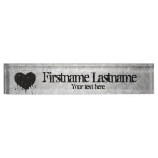 Romantic grungy black gray personalized heart desk name plate