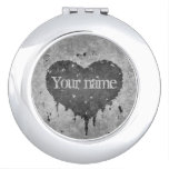 Romantic grungy gray personalized name heart makeup mirror