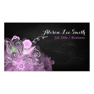 Romantic hand drawn ornaments business card