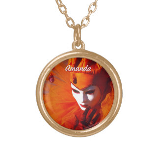 Romantic Harlequin With Orange Carnival Costume Gold Plated Necklace