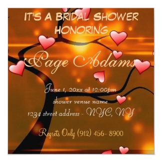 Romantic Heart Blossoms Bridal Shower Invitation