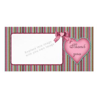 Romantic heart design Thank you Custom Photo Card