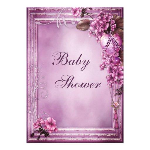romantic heart flowers frame baby shower 5 x 7 invitation c