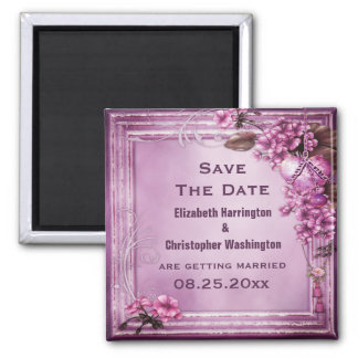 Romantic Heart & Flowers Wedding Save the Date Magnet