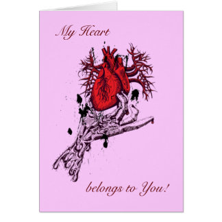 Romantic Heart in Creepy Skeleton Hand Artwork Greeting Card