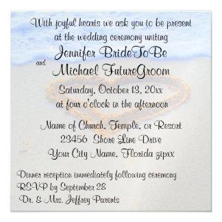 Romantic Heart in Sand beach Wedding 5.25x5.25 Square Paper Invitation Card
