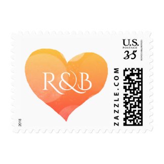 romantic heart in shades of yellow love wed postage